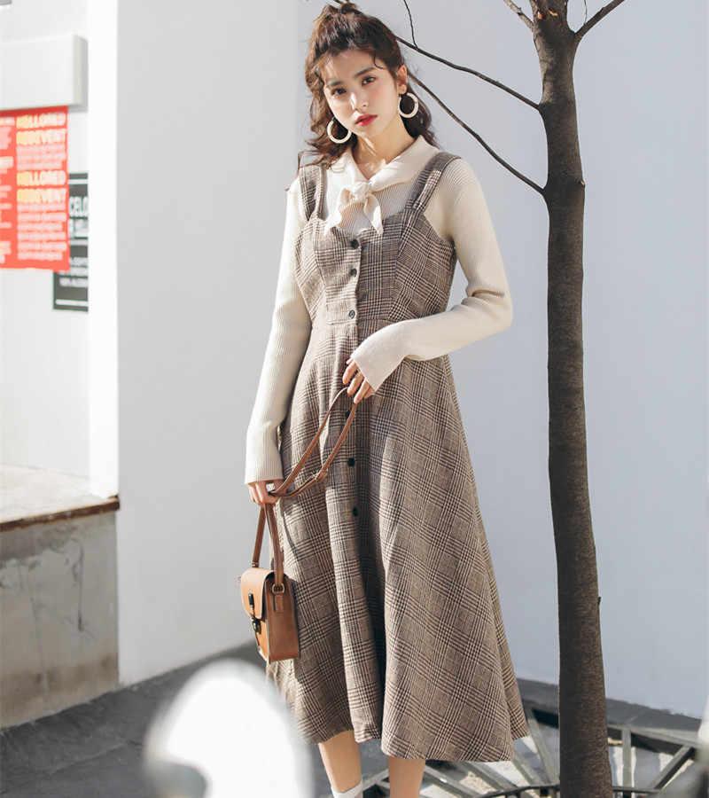 Осенне-зимний женский винтажный сарафан в английском стиле, клетчатые пуговицы, элегантное платье без рукавов, милое шерстяное женское платье