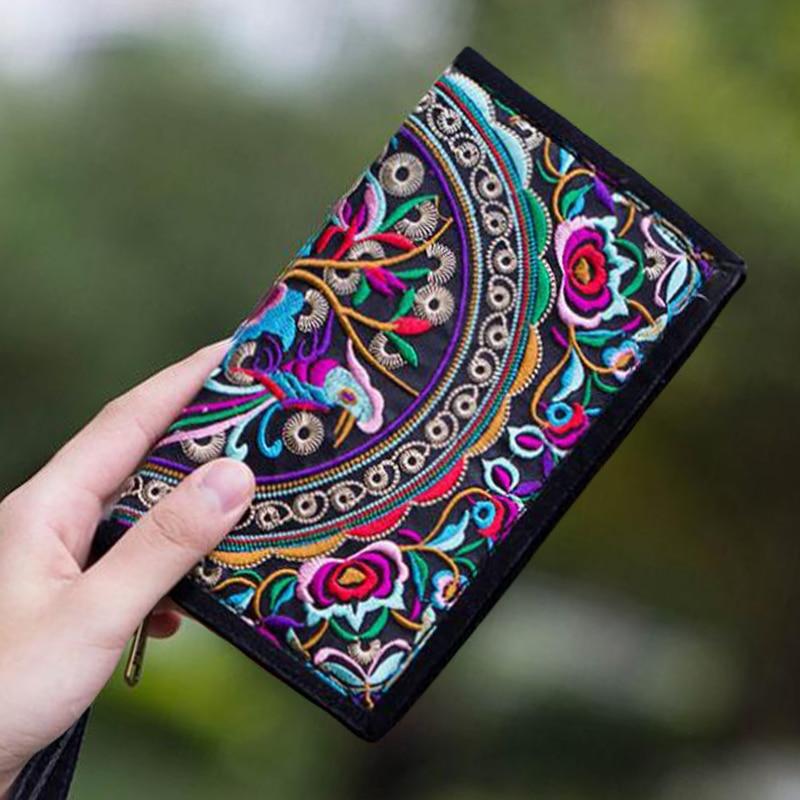 2018 Ethnic Boho Embroidered Floral Long Wallet Gift High Quality Brand Cotton Blend Wallet Female National Retro Shoulder Purse