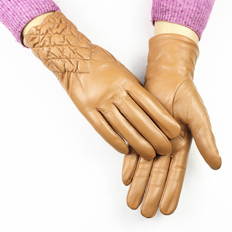 Sheepskin Gloves Women's Leather Gloves Autumn And Winter Plus Velvet Warm Champagne Embroidered Elastic Style