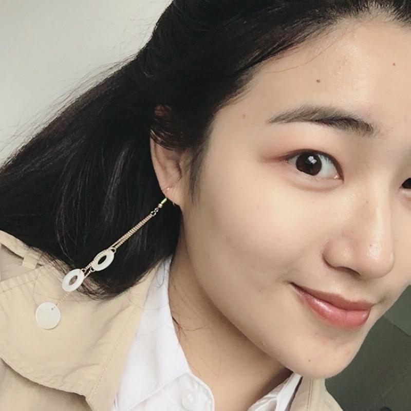 Fashion Cute Shell Earrings For Women Anting Wanita Long Gold Chain Tassel Hanging Earrings With Sells Girls Jewelry Girl Gift in Drop Earrings from Jewelry Accessories