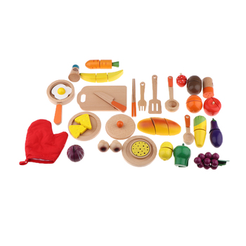 Kids Kitchen Toys Set Wooden Cutting Food Children Kitchen Pretend Play Role Toys set DIY Making Food Cooking Tool Model