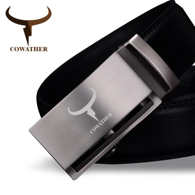 COWATHER Date arrivée vache véritable en cuir de luxe ceintures pour hommes  bonne automatique alliage boucle cc196042e15