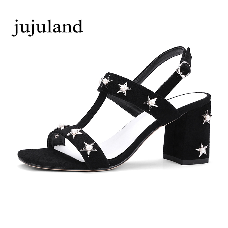 Summer Women Sandals Shoes Fashion Casual Pearl Star Solid Big Size Buckle Strap Square High Heel Gladiator Front & Rear Strap xiaying smile summer woman sandals fashion women pumps square cover heel buckle strap fashion casual concise student women shoes