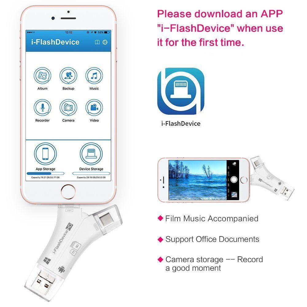 Image 5 - 4 in 1 SD Card Reader USB Micro SD&TF Card Reader Adapter for iPhone iPad MAC Android Camera Free Lighting & Type C Extenders-in Card Readers from Computer & Office