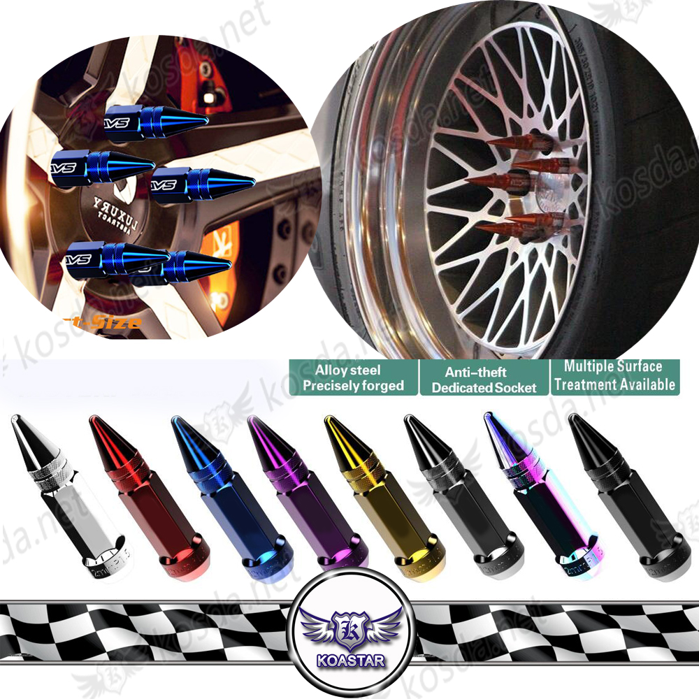 Chromium Rainbow Steel Wheels Lug Nuts With Spike Neo Chrome Extended Tuner Nut For Wheels Rims 20 pieces M12 x 1.5 цены