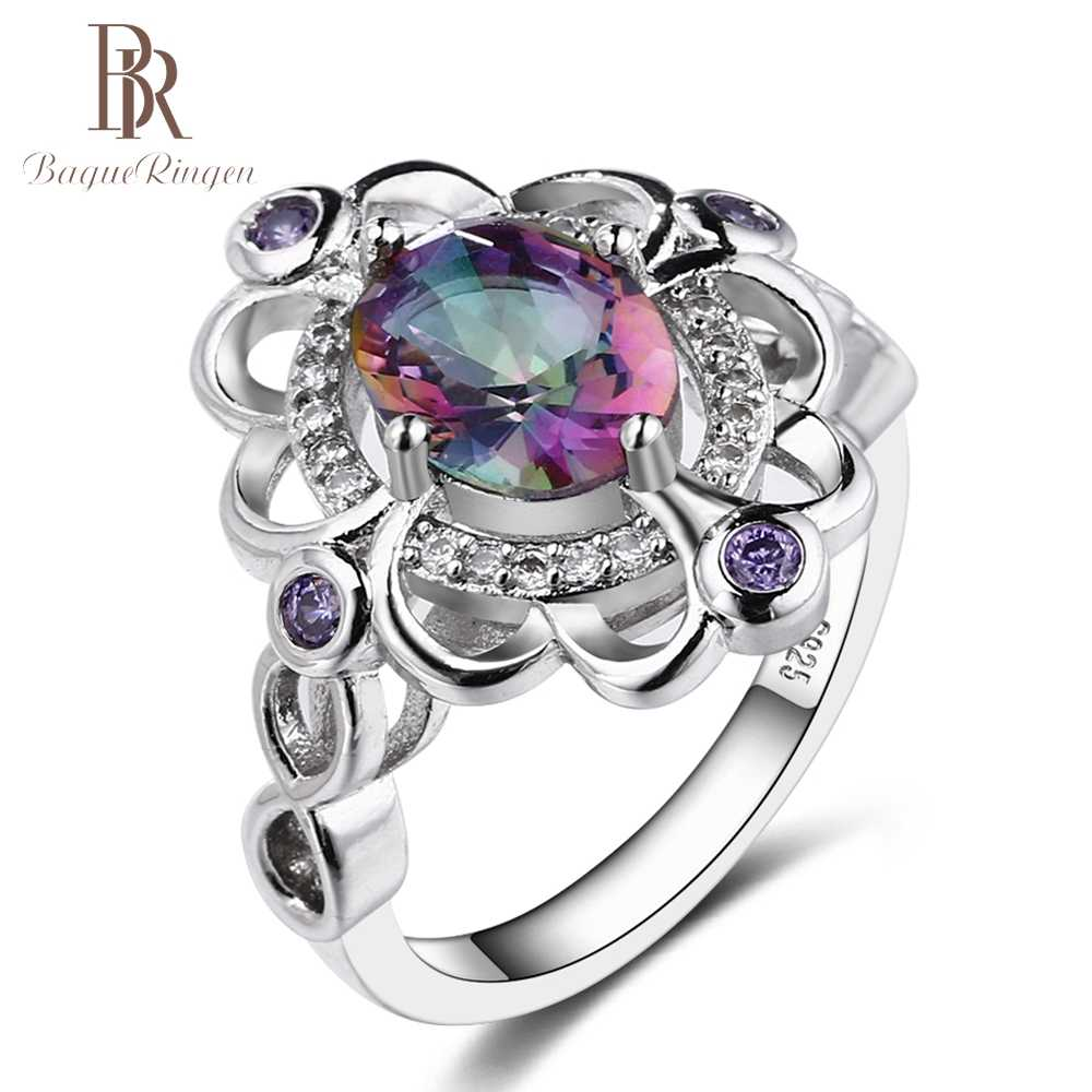Bague Ringen Real Mystic Rainbow Topaz 925 Sterling Silver Ring Amethyst Engagement Rings For Women Female Original Fine Jewelry