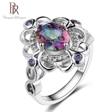 Bague Ringen Real Mystic Rainbow Topaz 925 Sterling Silver Ring Amethyst Engagement Rings For Women Female Original Fine Jewelry недорого