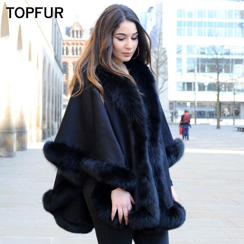TOPFUR Femmes Réel Cachemire Cape De Fourrure 2018 Nouvelle Mode D'hiver Naturel De Fourrure châle Manteau Avec Fourrure De Renard Col Top Qualité fourrure Cape