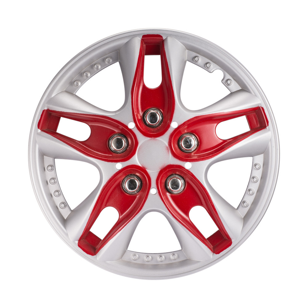 Atv Rims Wheel Covers : Aumohall pcs inch red car hub caps vehicle chrome