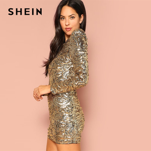 Image 3 - SHEIN Gold Form Fitting Sequin Round Neck Long Sleeve Bodycon Dress Autumn Weekend Casual Going Out Women Solid Elegant Dresses