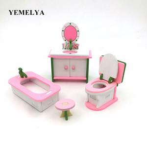 Toys Furniture-Sets Doll-House Table Wooden Kitchen The of Simulation Over-The-House-Toys
