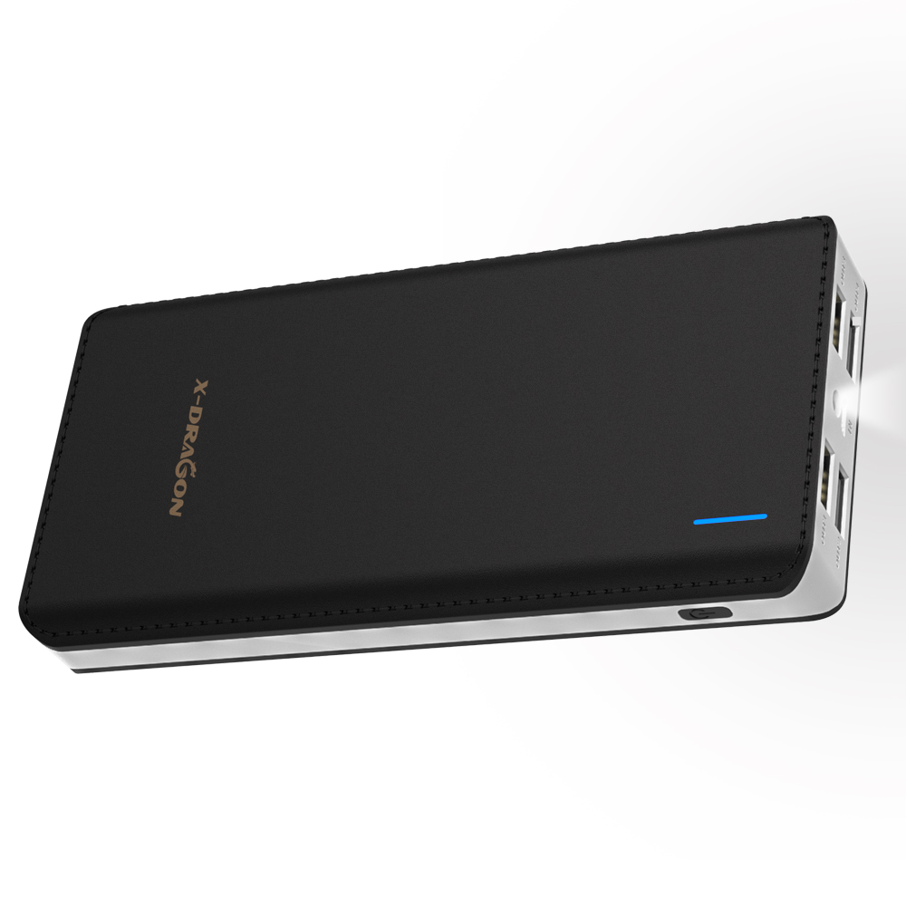 24000mAh Power Bank  4 USB Output External Battery Pack With Flashlight  For IPhone X Xiaomi Samsung Huawei Honor