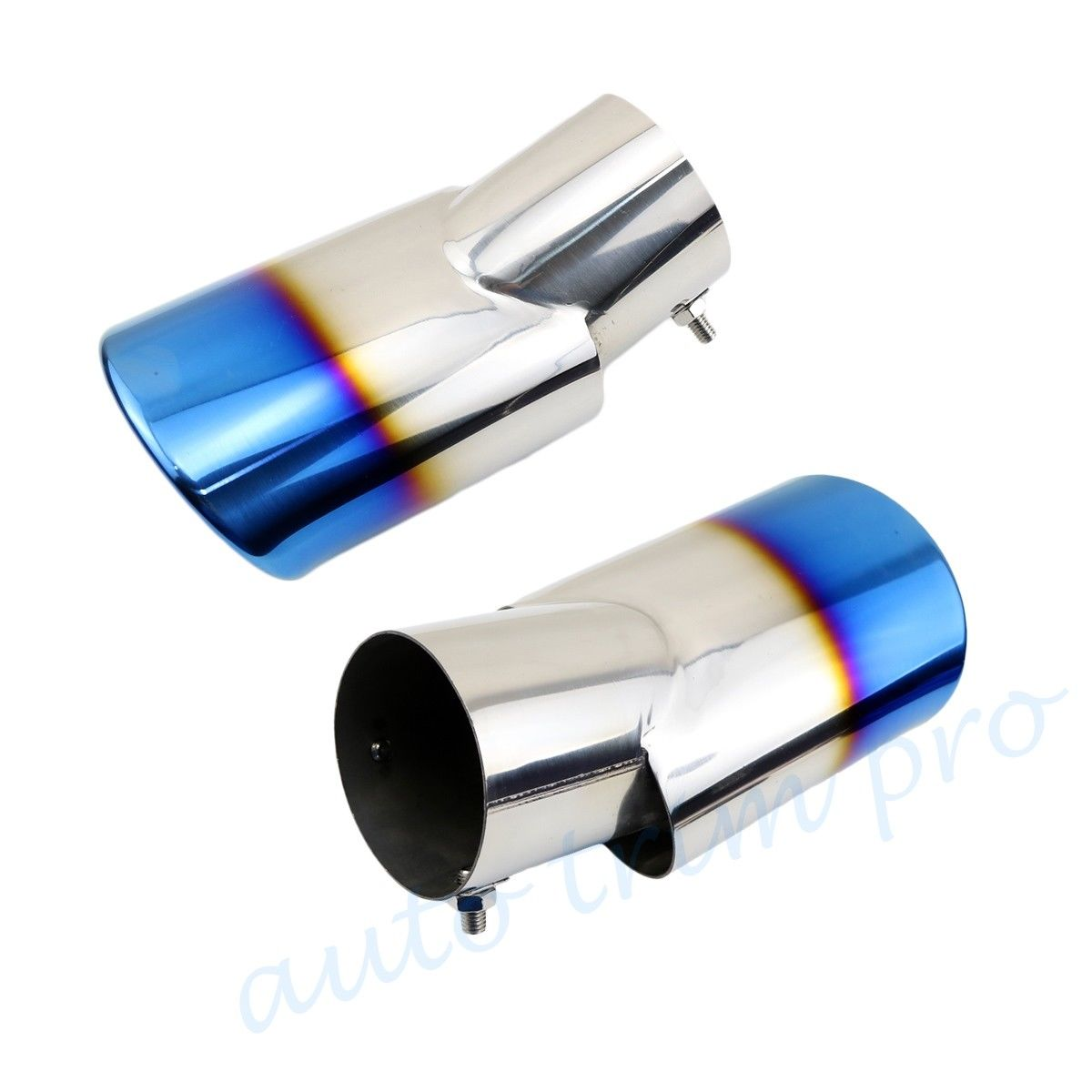 """Pair Universal Auto Tail Pipe Exhaust Rear Muffler End Tip Cover 72mm 2.8/"""" Inlet"""