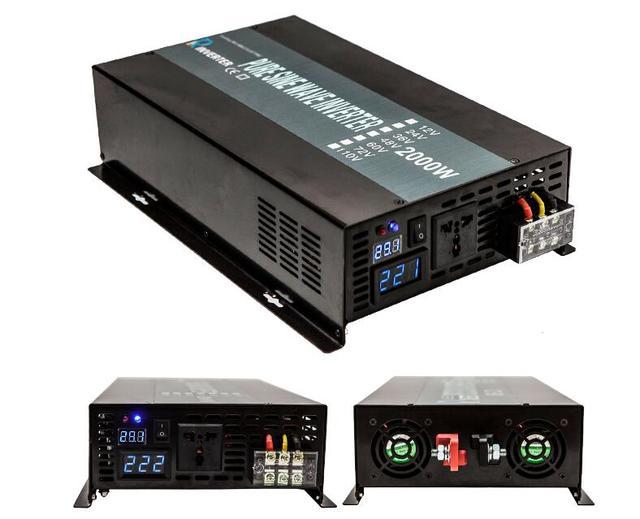 4000W Peak LED Display Off Grid Pure Sine Wave Power Solar Inverter 2000W 12V 120V DC AC Converter For Refrigerators/Television