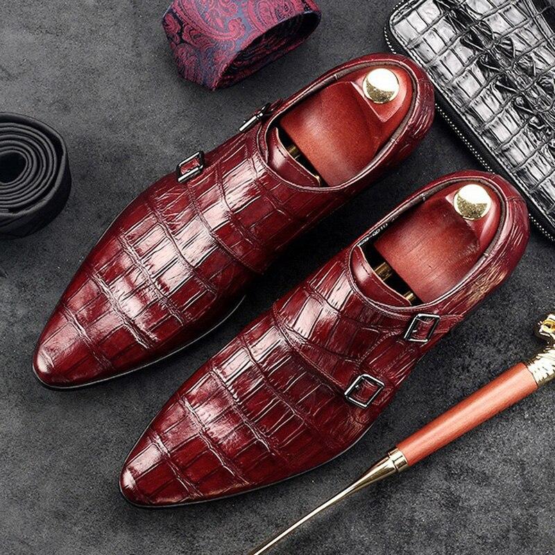 エレガントなイタリアのデザイナー男モンク靴本革基本正式なドレスポインテッドパーティーブライダル男性の GD52  グループ上の 靴 からの 正式な靴 の中 1