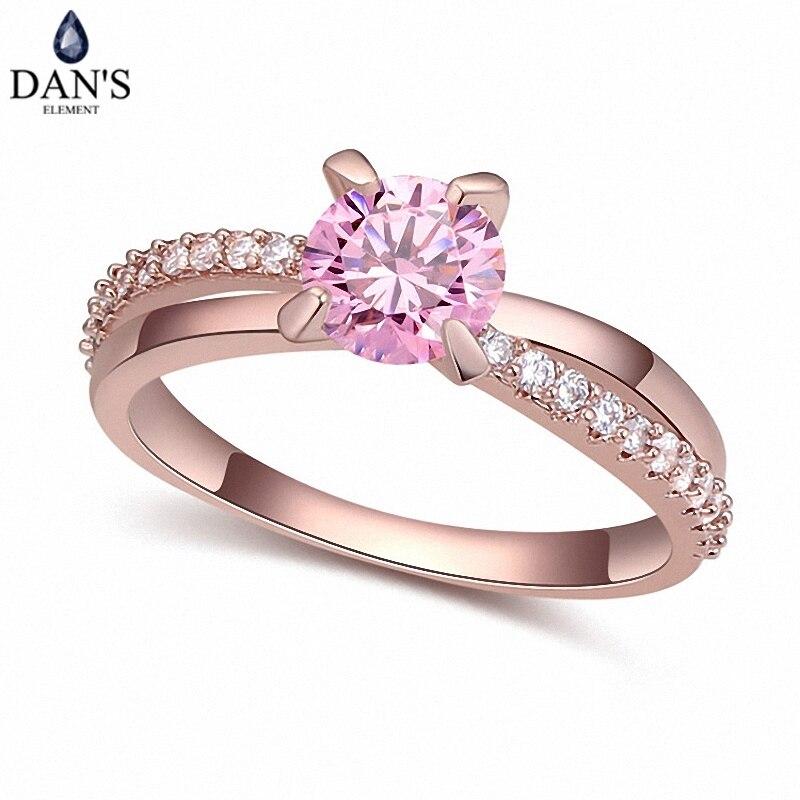 DAN'S Real Austrian Crystals Brand AAA Zirconia Micro Inlays Fashion Ring for women New Geometric 112048pink