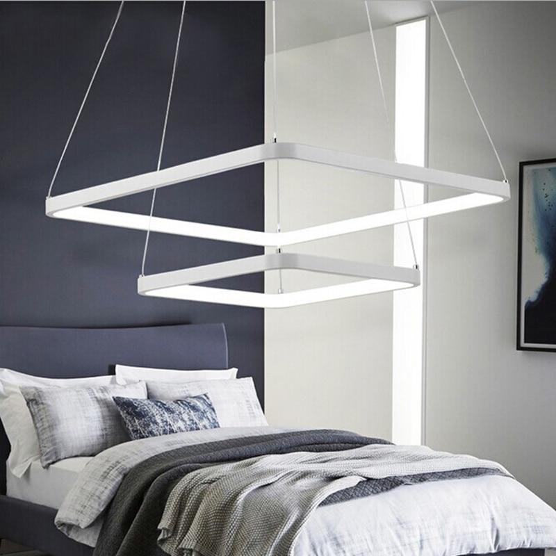 все цены на modern Acrylic Square Rings led pendant lights for dining living room suspension luminaire suspendu hanging pendant lamp fixture