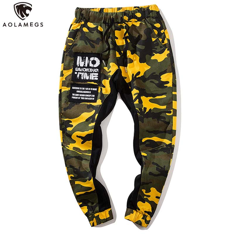 Aolamegs Pants Men Color Block Pants Male Trousers Cargo Elastic Waist Fashion High Steet Joggers Drawstring Sweatpants
