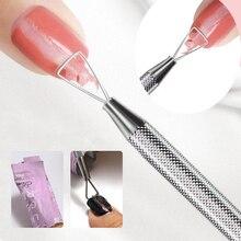 Paslanmaz çelik tırnak UV jel cila sökücü üçgen çubuk çubuk itici temizleyici manikür tırnak sanat araçları aksesuarları