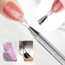 Toallitas quitaesmaltes de esmalte UV en Gel de acero inoxidable para uñas, varilla triangular, empujador, limpiador, accesorios para manicura artística