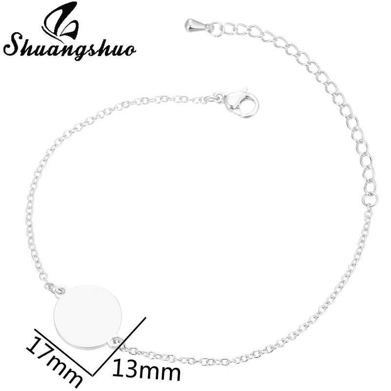 Shuangshuo シルバー固体ラウンドチャームブレスレット女性のためのステンレス鋼ジュエリー調節可能なブレスレット腕輪バレンタインデーのギフト