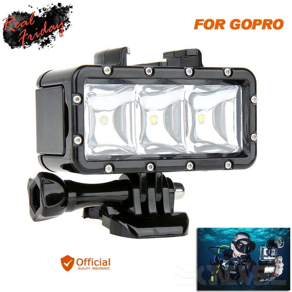 Plongée sous-marine étanche LED lumière + Batterie Pour GoPro Hero 5 6 Session Hero4 3 + 3 Xiaomi Yi SJ4000 Camera Action Accessoires