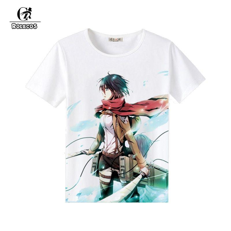 ROLECOS Attack on Titan Cosplay Summer Fashion T-shirt Shingeki no Kyojin Costume Cosplay Cotton Brand Costumes