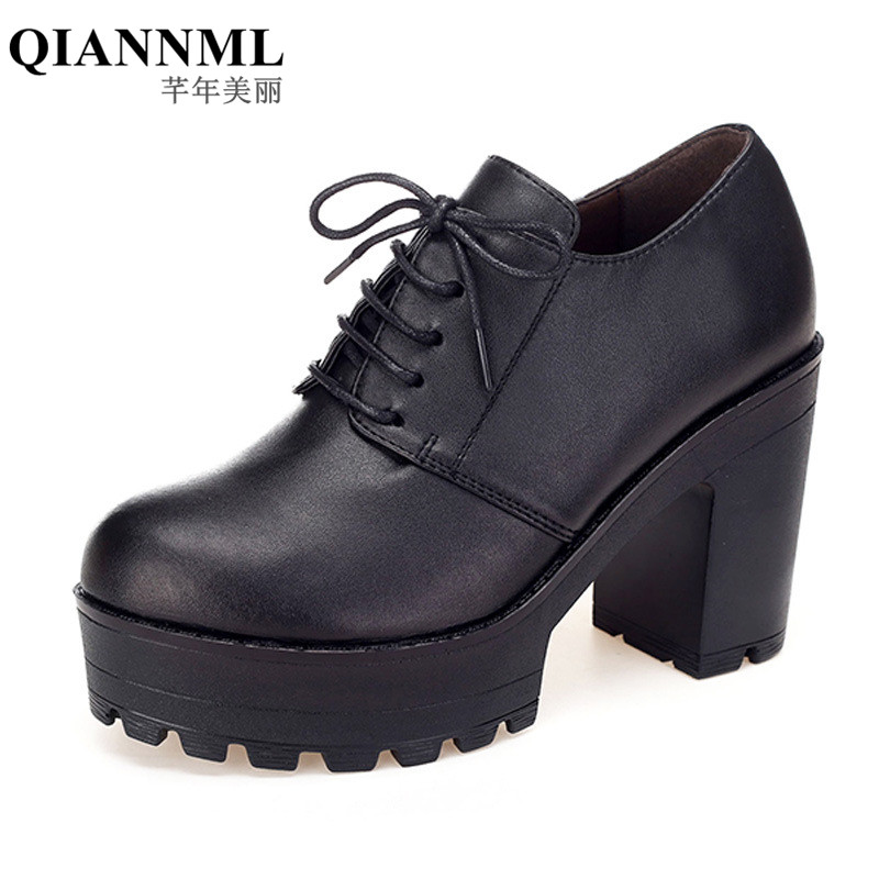 Qianml New 2018 Spring Autumn Women Genuine Leather Shoes High heels Thick Sole Platform Pumps Round Toe Shoe Woman size 33 40 xiaying smile woman pumps shoes women spring autumn wedges heels british style classics round toe lace up thick sole women shoes