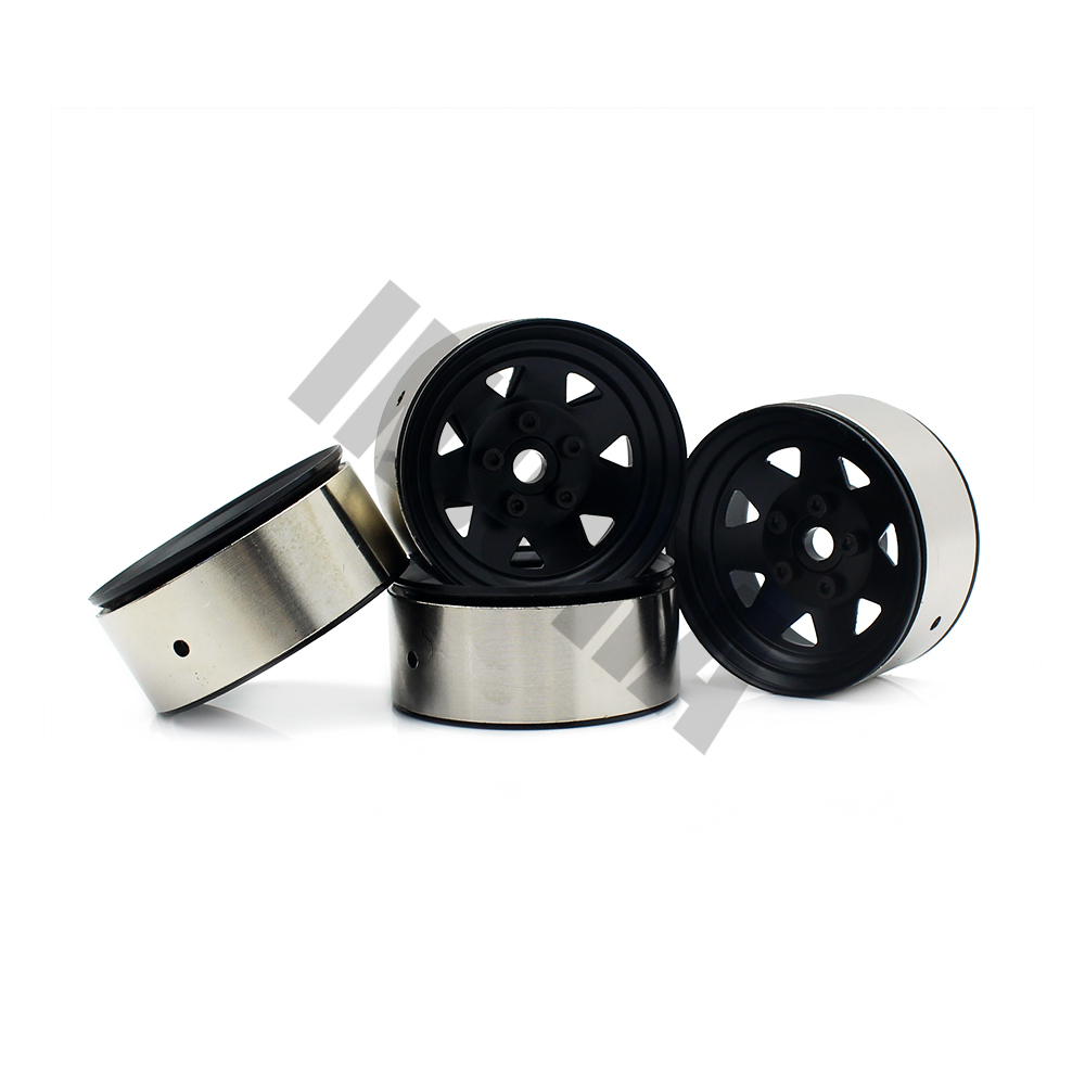 4PCS Metal 1.9 Inch BEADLOCK Wheel Rim for 1/10 RC Crawler Traxxas TRX-4 Axial SCX10 90046 TAMIYA CC01 D90 4pcs rc crawler 1 10 wheel rims beadlock alloy 1 9 metal rims rock crawler wheel hub parts for rc car traxxas rc4wd scx10 cc01