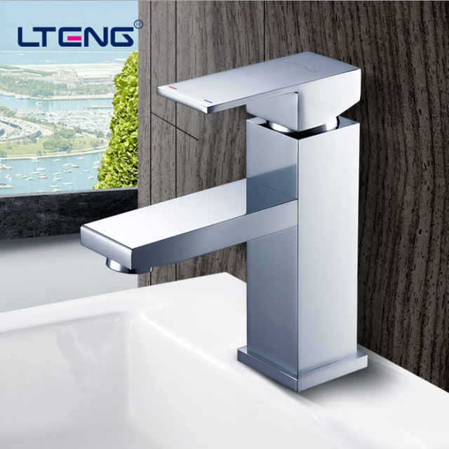 LTENG basin faucet for wash  fine copper material hot and cold water tap ceramic spool water-tap free shipping