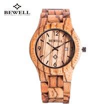 2016 Новый Bewell Мужские Деревянные Часы Новогодний Подарок Браслет Кварцевые Часы С Календарем Дисплей Япония Движение Древесины Женщины Наручные Часы