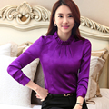 2016 Autumn Women OL Stain Shirt Ladies White Purple Green Elegant stand collar Long Sleeve Blouse Female Office work wear Tops