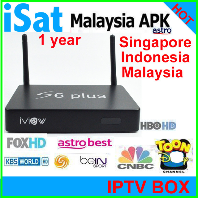 US $125 89 |iveiw s6 plus ANDROID tv box quad core smart IPTV tv box  Malaysia astro box iptv singapore 1 year free service with 190+ channel-in