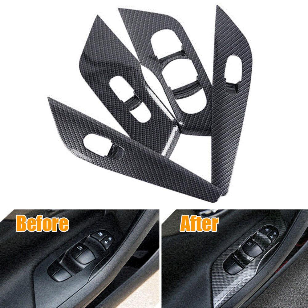 BBQ FUKA 4pcs Set Door Handle Window Lift Switch Button Cover Bezel Trim Frame Fit For
