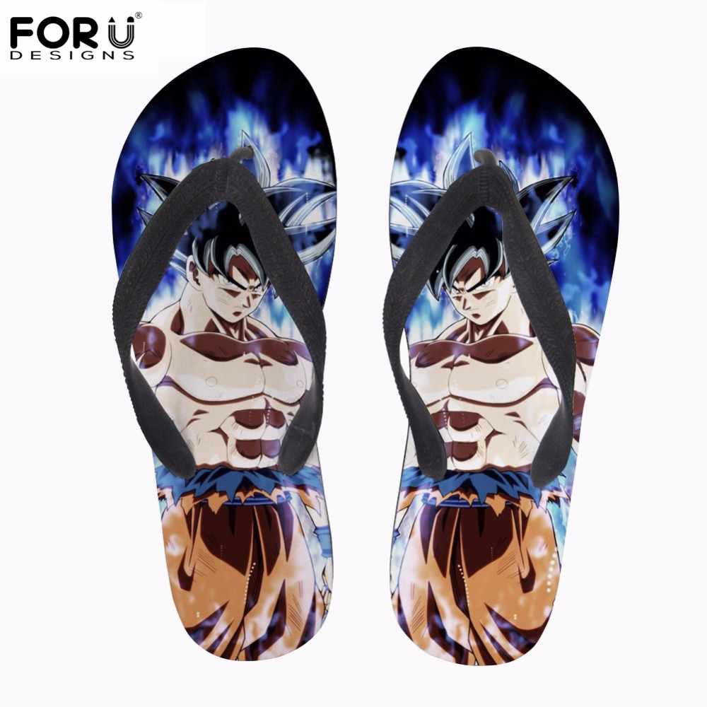 Forudesigns Fashion Anime Dragon Ball Z Print Mens Summer Slippers Cool Super Saiyan Son Goku Flip Flops Rubber Beach Flip-flop Harmonious Colors Men's Shoes