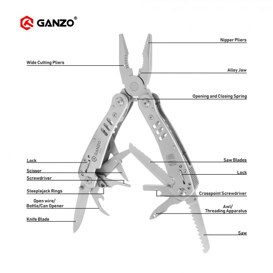 Ganzo G300 series G301 Multi pliers 26 Tools in One Hand Tool Set Screwdriver Kit Portable