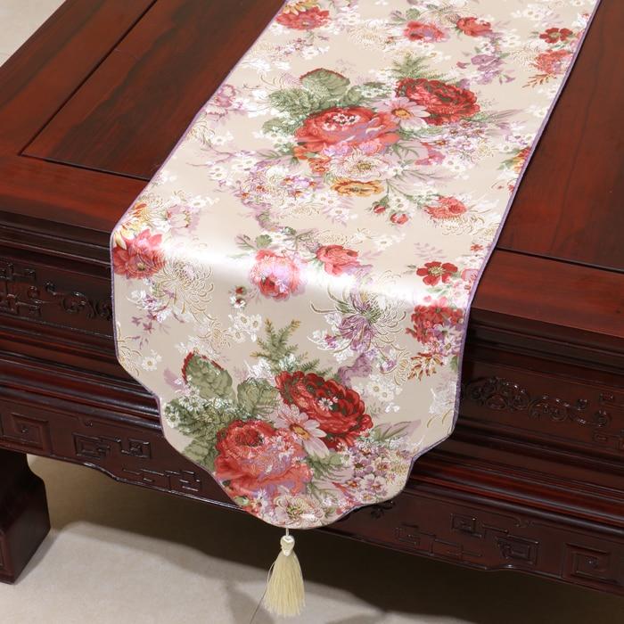 Pivoňka květinový žakár hedvábný satén stolní běžec módní jednoduché damaškové konferenční stolek hadřík obdélník jídelní stůl rohož prostírání
