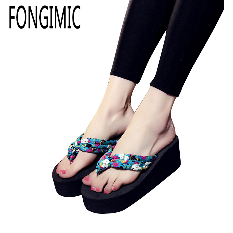 Hot Sale Wedge Platform Flip Flops Woman Shoes Women New Summer Shoes High Heels Beach Sandals Ladies Thick High Floral Pantufas купить