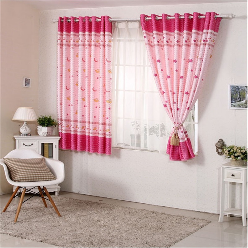 Cotton printed short curtain kid bedroom living room window balcony ...