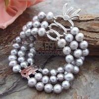 B041315 3Strands Pearl Bracelet CZ Pendant