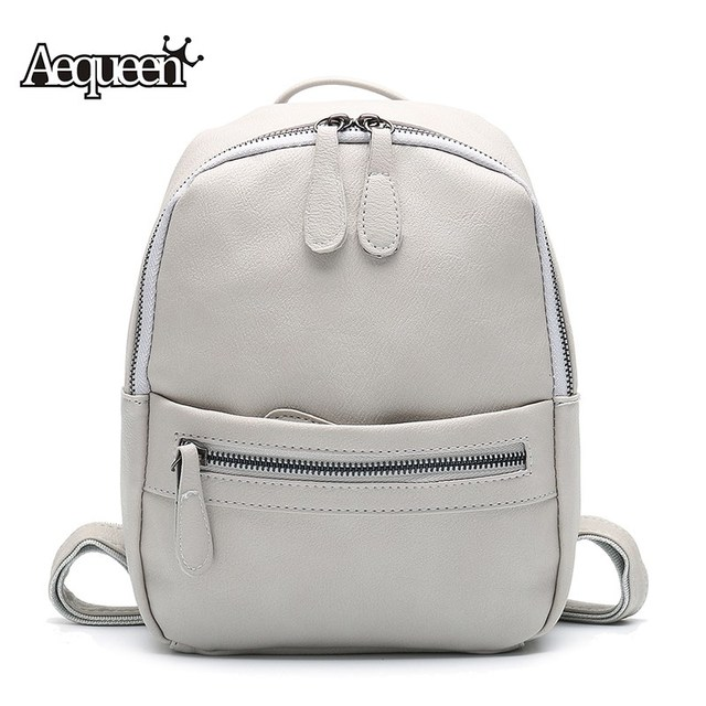 b2c093723827 US $25.6 |AEQUEEN Leather Backpack Women 2018 Fashion Candy Color Mini  Backpacks School Bags For Teenagers Girls Cute Rucksack-in Backpacks from  ...