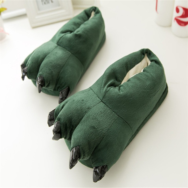 ToLaiToe free shipping Autumn and winter super soft coral velvet paw shoe Stitch plush dinosaur explosion models cotton slippers