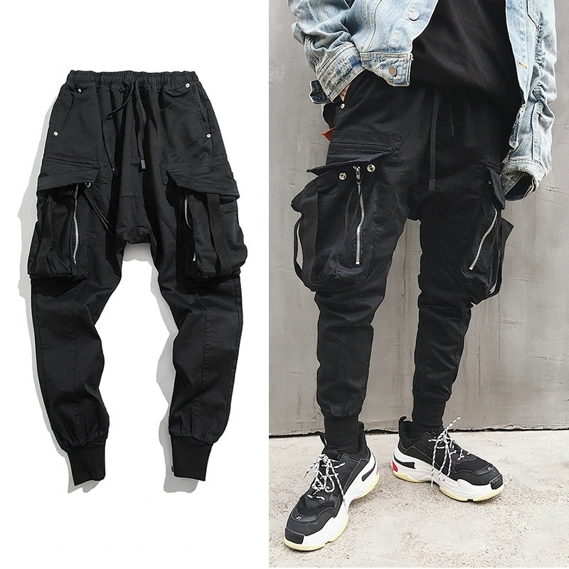 Hip Hop Big Pocket Harem Pants Men Black Cotton Joggers Men Streetwear Casual Slim Sweatpants Male Mens Track Pants