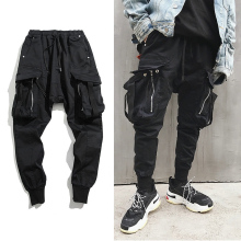 VOLGINS Hip Hop Big Pocket Harem Pants Black Cotton Joggers Streetwear Casual Slim