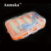 New Double Side Design Waterproof Open Plastic Fly Fishing Box Small Portable Fishing Tackle Bait Case