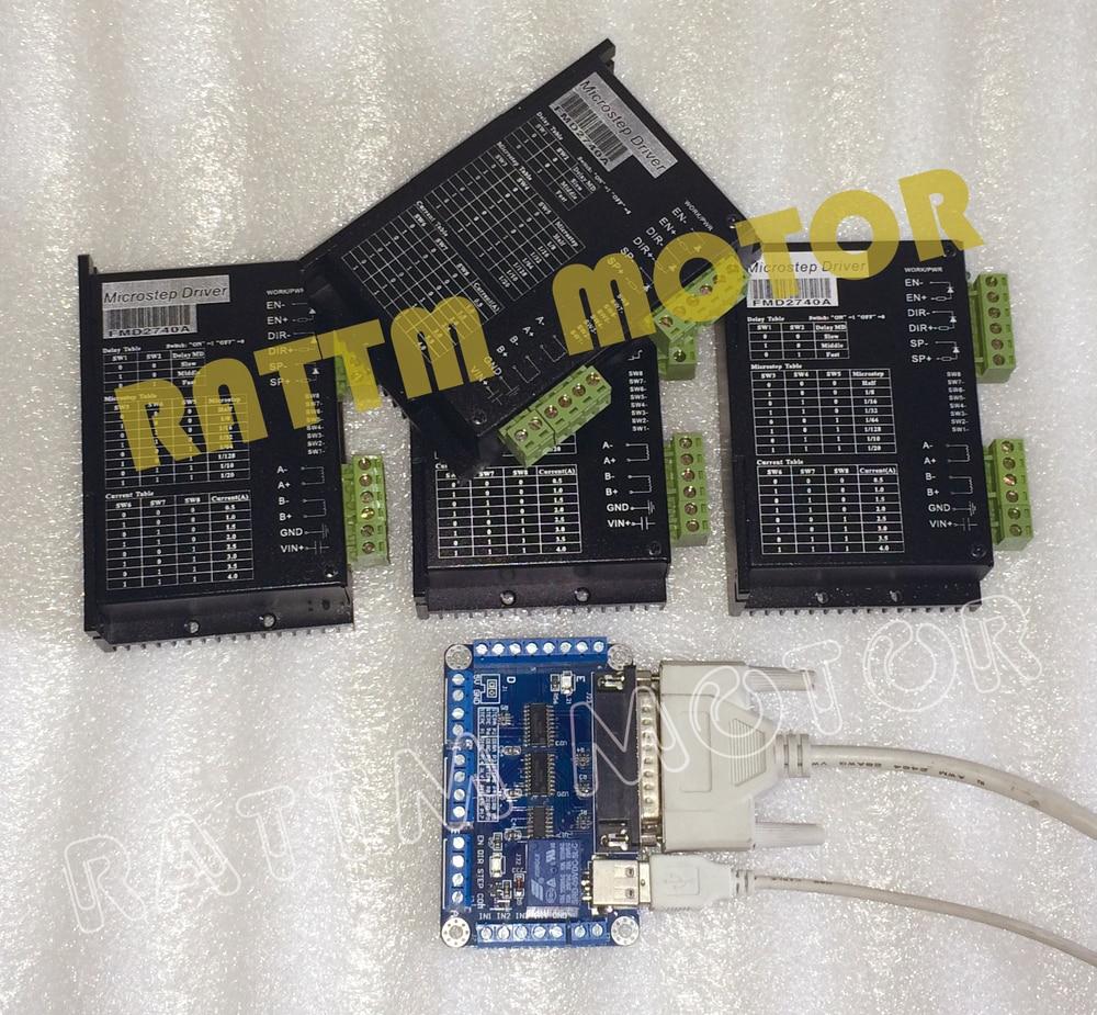 купить 4 Axis controller kit, Stepper motor driver FMD2740A 50V/ 4A /128 microstep & 5Axis CNC breakout board V5 type по цене 7477.01 рублей