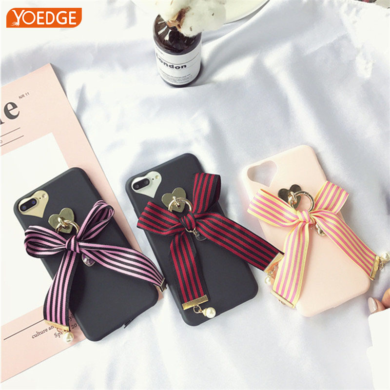Case luxury Lovely for iPhone 6 6S 7 8 Plus 3D Love Bow Tie Jewel Pendant All Inclusive Silicone TPU Soft Phone Box Cover