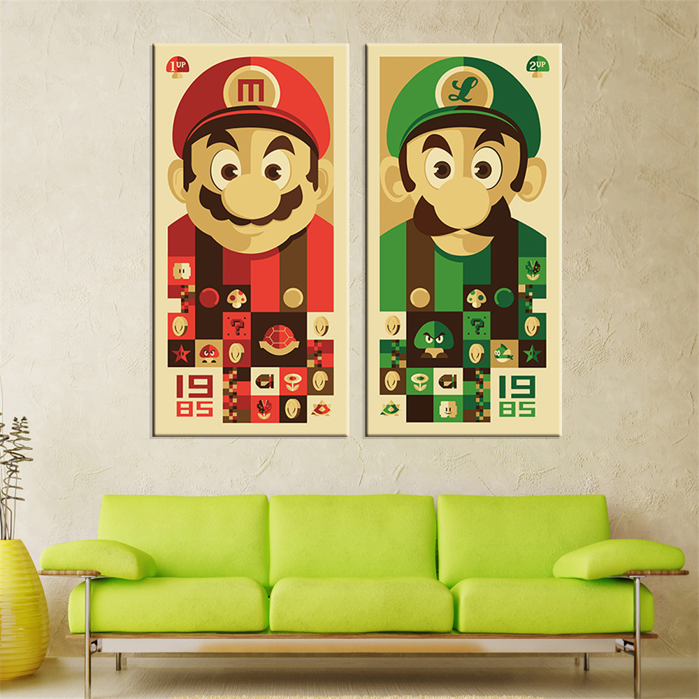 Unframed Mario Bros Canvas Painting Wall Art Cartoon Canvas Print Home Decor Oil Picture Wall Painting for Living Room 2 Pieces-in Painting u0026 Calligraphy ...  sc 1 st  AliExpress.com & Unframed Mario Bros Canvas Painting Wall Art Cartoon Canvas Print ...