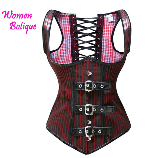 7395cf818f Red Black Stripe Underbust Bodice Corset XXL Waist Trainer Control For  Women Slim Bodysuit Shaperwear Steampunk