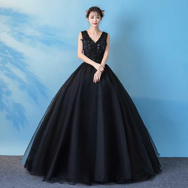 Новое поступление, черное бальное платье с v образным вырезом и аппликацией из бисера 2019, Пышное Бальное платье, платья для выпускного вечера в наличии, vestidos de Quinceanera